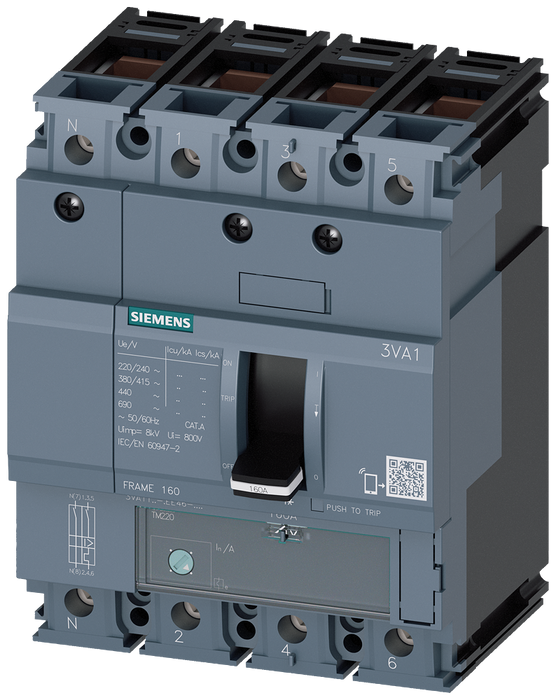 circuit breaker 3VA1 IEC frame 160 breaking capacity class S Icu=36kA @ 415V 4-pole, line protection TM220, ATFM, In=125A overload protection Ir=88A.. motor - 3VA1112-4EE46-0AA0