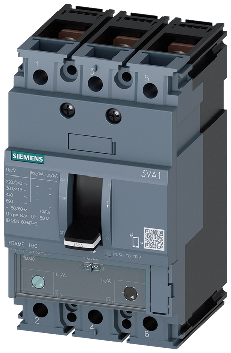circuit breaker 3VA1 IEC frame 160 breaking capacity class N Icu=25kA @ 415V 3-pole, line protection TM240, ATAM, In=160A overload protection Ir=112A. motor - 3VA1116-3EF32-0JC0