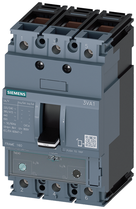 circuit breaker 3VA1 IEC frame 160 breaking capacity class N Icu=25kA @ 415V 3-pole, line protection TM240, ATAM, In=160A overload protection Ir=112A. motor - 3VA1116-3EF36-0BH0