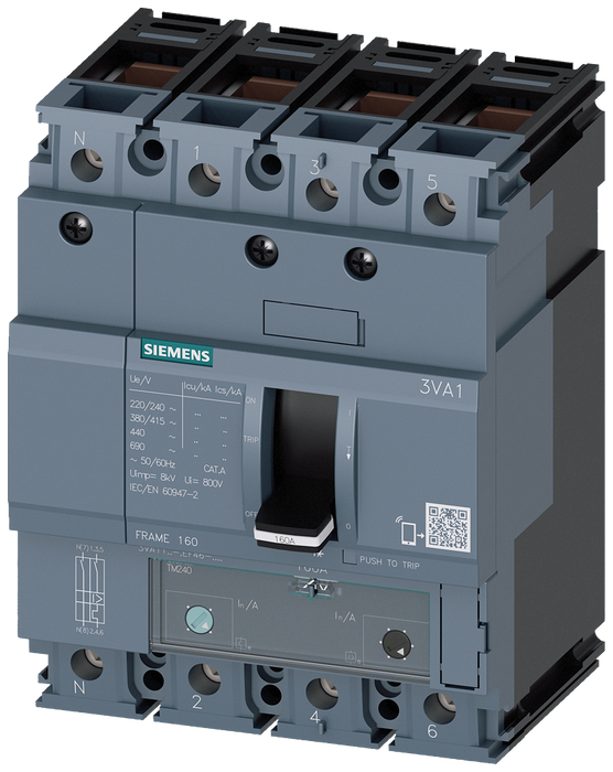 circuit breaker 3VA1 IEC frame 160 breaking capacity class S Icu=36kA @ 415V 4-pole, line protection TM240, ATAM, In=125A overload protection Ir=88A.. motor - 3VA1112-4EF46-0AA0