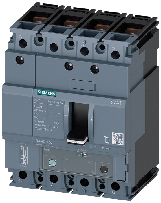 circuit breaker 3VA1 IEC frame 160 breaking capacity class M Icu=55kA @ 415V 4-pole, line protection TM240, ATAM, In=160A overload protection Ir=112A. motor - 3VA1116-5EF42-0AE0