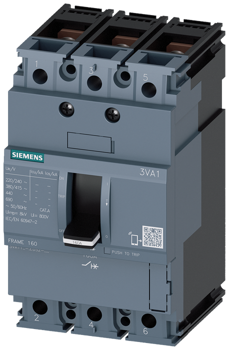 circuit breaker 3VA1 IEC frame 160 breaking capacity class M Icu=55kA @ 415V 3-pole, line protection TM210, FTFM, In=160A overload protection Ir=160A motor - 3VA1116-5ED32-0HH0