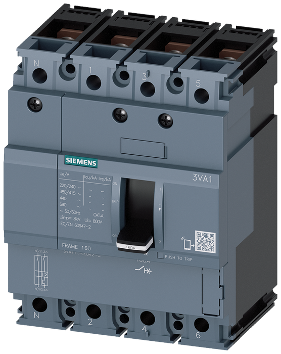 circuit breaker 3VA1 IEC frame 160 breaking capacity class H Icu=70kA @ 415V 4-pole, line protection TM210, FTFM, In=125A overload protection Ir=125A motor - 3VA1112-6ED42-0AA0