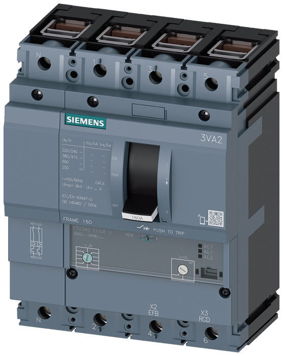 circuit breaker 3VA2 IEC frame 160 breaking capacity class L Icu=150kA @ 415V 4-pole, line protection ETU340, ELISA LI, In=100A overload protection Ir motor - 3VA2110-8HK46-0AA0