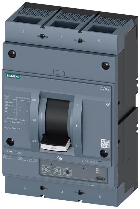 circuit breaker 3VA2 IEC frame 1000 breaking capacity class H Icu=85kA @ 415V 3-pole, line protection ETU320, LI, In=630A overload protection Ir=250A. motor - 3VA2563-6HL32-0AA0