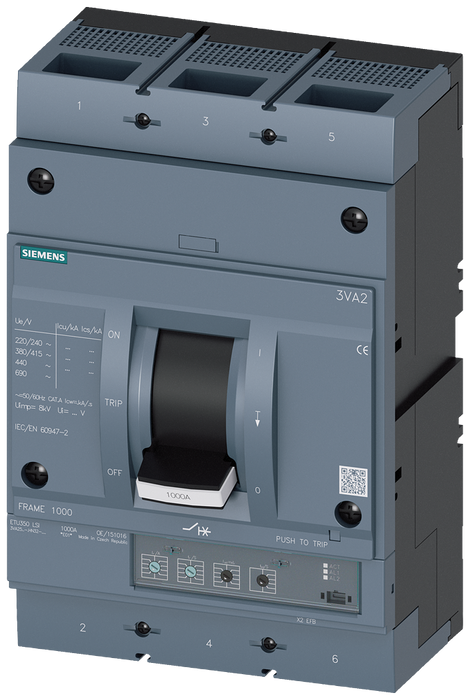 circuit breaker 3VA2 IEC frame 1000 breaking capacity class H Icu=85kA @ 415V 3-pole, line protection ETU350, LSI, In=800A overload protection Ir=320A motor - 3VA2580-6HN32-0CC0