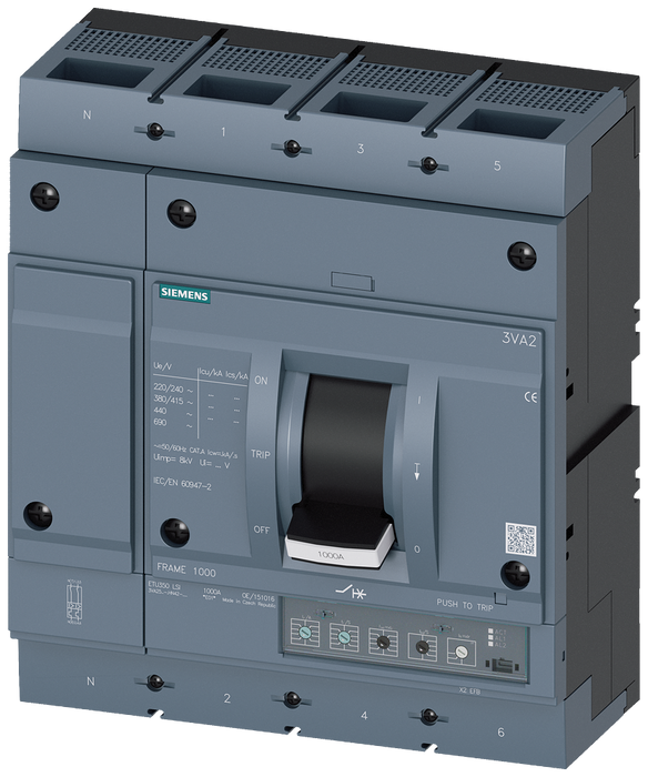 circuit breaker 3VA2 IEC frame 1000 breaking capacity class M Icu=55kA @ 415V 4-pole, line protection ETU350, LSI, In=1000A overload protection Ir=400 motor - 3VA2510-5HN42-0AA0