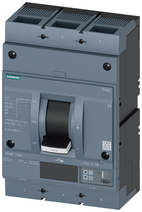 circuit breaker 3VA2 IEC frame 1000 breaking capacity class H Icu=85kA @ 415V 3-pole, line protection ETU550, LSI, In=630A overload protection Ir=250A motor - 3VA2563-6JP32-0AA0