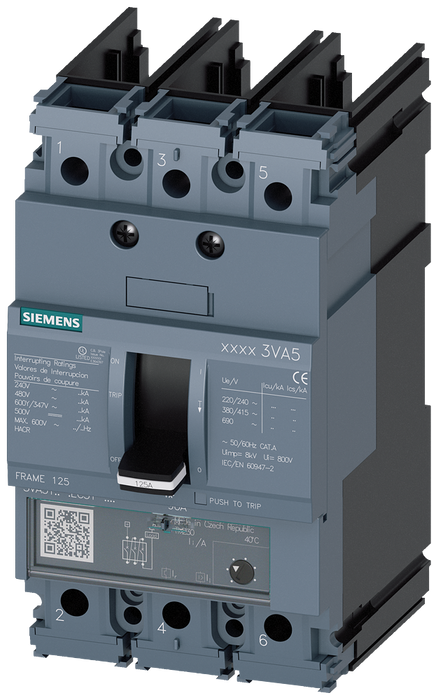 circuit breaker 3VA5 UL frame 125 breaking capacity class M 35kA @ 480 V 3-pole, line protection TM230, FTAM, In=80A overload protection Ir=80A fixed motor - 3VA5180-5EC31-0AA0