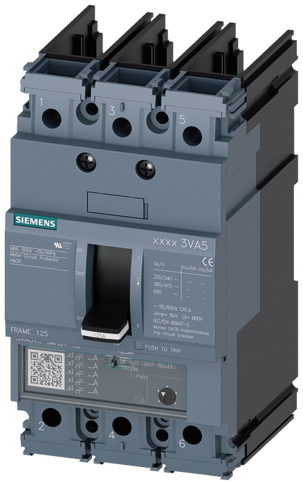 circuit breaker 3VA5 UL frame 125 3-pole, starter protection TM120M, AM, In=90A without overload protection short-circuit protection Ii=3...7 x In wit motor - 3VA5190-1MU31-0AA0