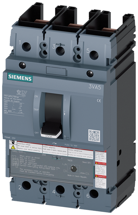circuit breaker 3VA5 UL frame 250 breaking capacity class H 65kA @ 480V 3-pole, line protection TM230, FTAM, In=125A overload protection Ir=125A fixed motor - 3VA5212-6EC31-1AA0