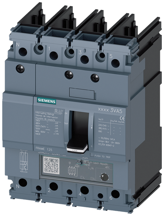 circuit breaker 3VA5 UL frame 125 breaking capacity class H 65kA @ 480V 4-pole, line protection TM230, FTAM, In=30A overload protection Ir=30A fixed s motor - 3VA5130-6EC41-0AA0