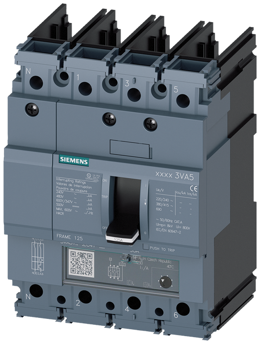 circuit breaker 3VA5 UL frame 125 breaking capacity class H 65kA @ 480V 4-pole, line protection TM240, ATAM, In=100A overload protection Ir=80A...100A motor - 3VA5110-6GF41-0AA0