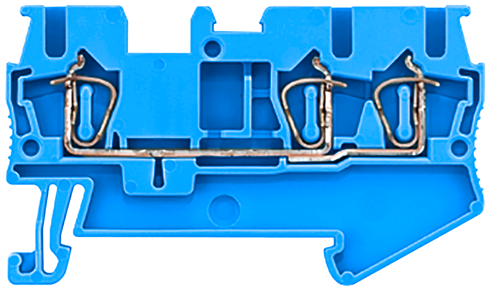 Through-type terminals with spring-loaded connection, 3 connection points Cross-section: 0.08-2.5 mm2, Width: 5.2mm, Color: blue motor - 8WH2003-0AF01