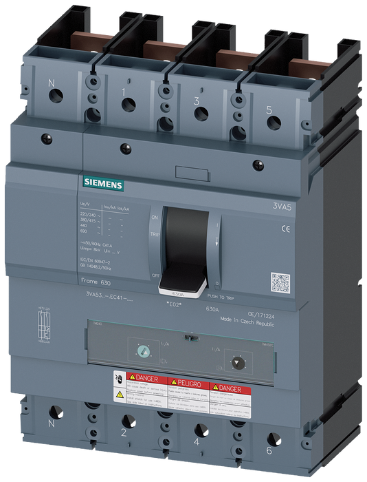 CIRCUIT BREAKER 3VA5 UL Frame 400 BREAKING CAPACITY CLASS  H 65kA @ 480 V 4POLE, LINE PROTECTION TM240,  ATAM, In=200A WITHOUT OVERLOAD PROTECTION IR= motor - 3VA5320-6EF41-0AA0
