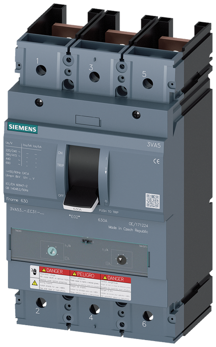 CIRCUIT BREAKER 3VA5 UL Frame 400 BREAKING CAPACITY CLASS  M 35kA @ 480 V 3POLE, LINE PROTECTION TM230,  FTAM, In=225A WITHOUT OVERLOAD PROTECTION IR= motor - 3VA5322-5EC31-1AA0