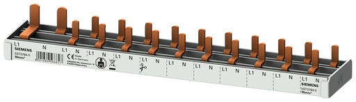 compact Pin Busbar, 10mm2 connection: 1p/N (FI N-right) 1x RCCB 2-pole + 10x compact device 1-pole touch protected N-right 12 MW cuttable motor - 5ST3784-0