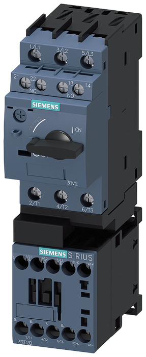 Load feeder fuseless, Direct-on-line starting 400 V AC, Size S00 0.28...0.40 A 24 V DC screw terminal for installation on standard mounting rail (also motor - 3RA2115-0EA16-2BB4