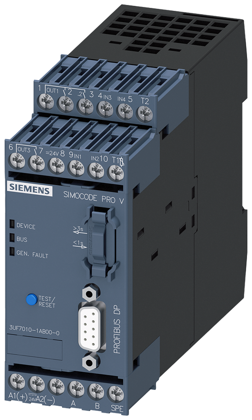 Basic unit 2 SIMOCODE pro V, PROFIBUS DP interface 12 Mbit/s, RS 485, 4 I/3 Q motor - 3UF7010-1AB00-0