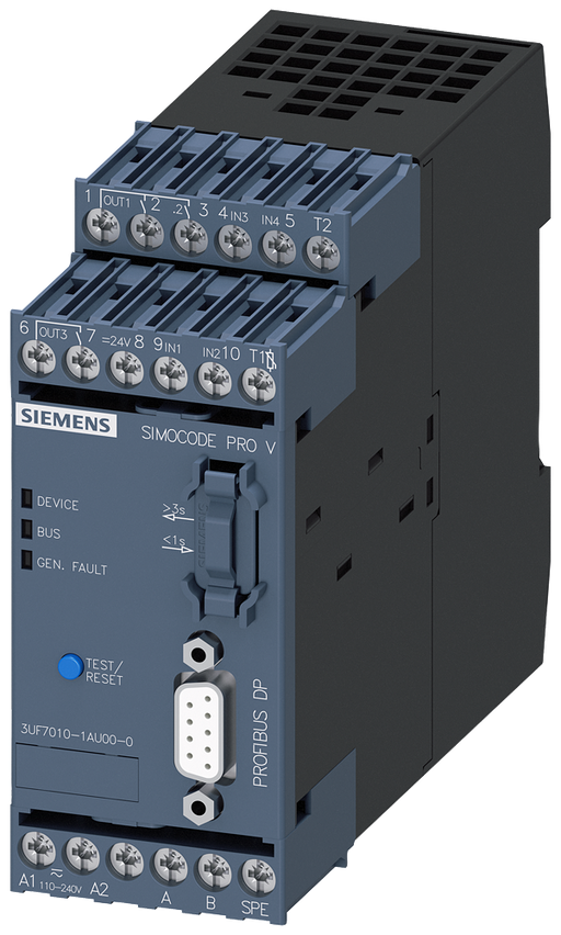 Basic unit 2 SIMOCODE pro V, PROFIBUS DP interface 12 Mbit/s, RS 485, 4 I/3 Q motor - 3UF7010-1AU00-0