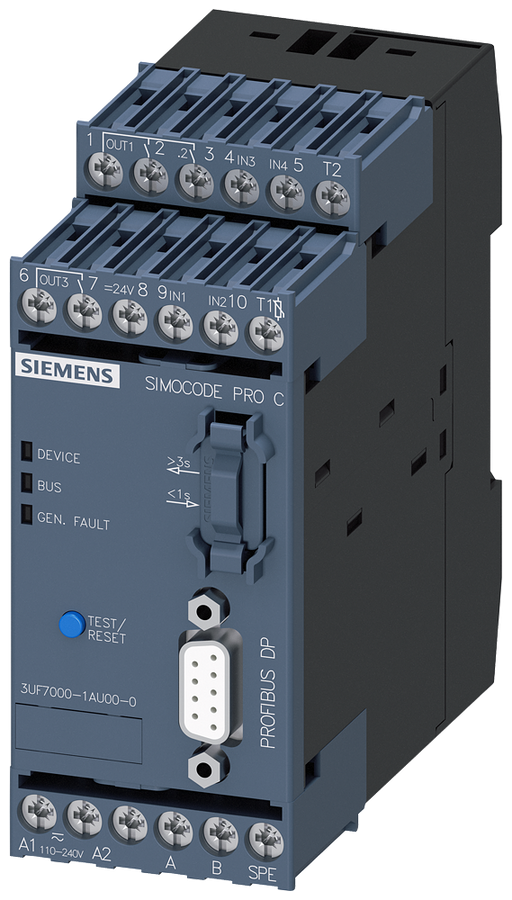 Basic unit 1 SIMOCODE pro C, PROFIBUS DP interface 12 Mbit/s, RS 485, 4 I/3 Q motor - 3UF7000-1AU00-0