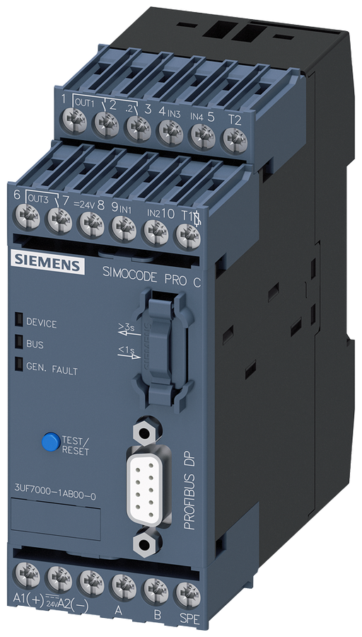 Basic unit 1 SIMOCODE pro C, PROFIBUS DP interface 12 Mbit/s, RS 485, 4 I/3 Q motor - 3UF7000-1AB00-0