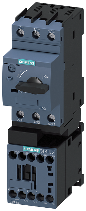 Load feeder fuseless, Direct-on-line starting 400 V AC, Size S00 0.22...0.32 A 24 V DC screw terminal for installation on standard mounting rail (also motor - 3RA2110-0DA15-1FB4