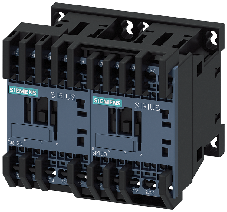 Reversing contactor assembly AC3: 5.5 kW/400 V, 24 V DC 3-pole, Size S00 Spring-type terminal electrical and mechanical interlock with integrated diod motor - 3RA2317-8XB30-2FB4