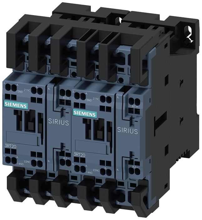 Reversing contactor assembly AC-3, 5.5 kW/400 V, 24 V DC 3-pole, Size S0 Spring-type terminal electrical and mechanical interlock with integrated diod motor - 3RA2324-8XB30-2FB4