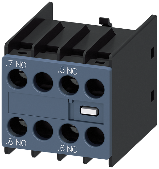 Auxiliary switch 11 U, on the front, 1 NO + 1 NC Current path 1 NO, --, 1 NC, -- for 3RH and 3RT screw terminal .7/.8, --/--, .5/.6, --/-- motor - 3RH2911-1FB11-ZW97