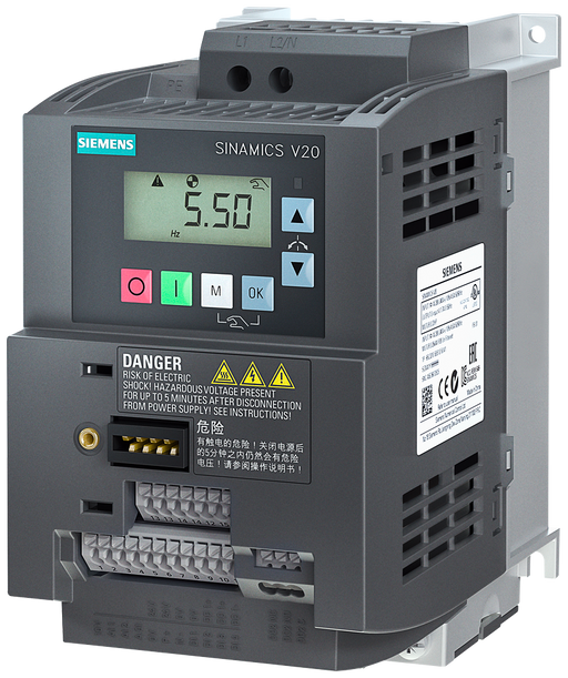 SINAMICS V20 1 AC 200-240 V -10/+10% 47-6 Rated power 1.5 kW with 150% overload for 60 sec. Integrated filter C1 I/O interface: 4 DI, 2 DQ, Fieldbus: motor - 6SL3210-5BB21-5BV1