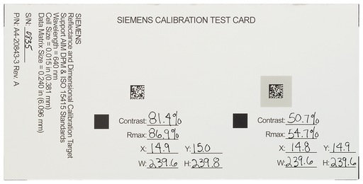 Calibration card for MV440- devices with Veri-Genius license, WxHxD (mm) 45x 70x 75 motor - 6GF3440-8CE