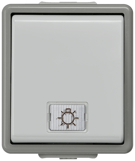 DELTA fläche IP44, AP Dark gray/light gray Two-way switch, 10A 250V 66x 75 mm, with lamp +2 windows (neutral, light) motor - 5TA4716