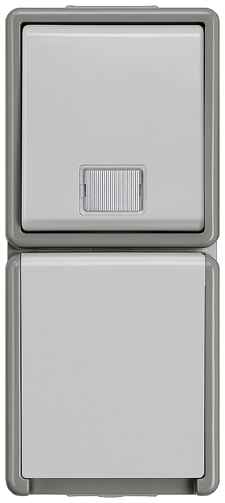 DELTA flaeche IP44, AP Dark gray/light gray button, 10A 250V SCHUKO socket outlet with spring flap 10/16 A 250 V, 66x 151 mm motor - 5TD4811