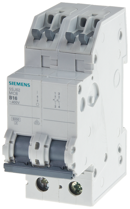 Miniature circuit breaker 400 V 6kA, 2-pole, C, 10A, D=70 mm with screwless outgoing terminals motor - 5SJ6210-7KS