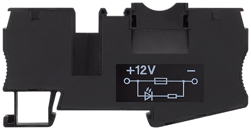 Fuse terminal with illuminated indicator, 12 V DC with 4 mm2 spring-loaded connection, for automatic circuit breakers, Width: 8.2mm, Color: black only motor - 8WH2000-1BG28