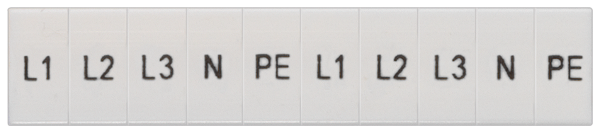 Inscription label, front, with L1, L2, L3, PE, N, vertical, terminal width: ... motor - 8WH8120-2AA15