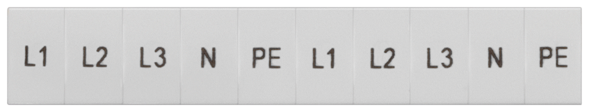 Inscription label, front, with L1, L2, L3, PE, N, vertical, terminal width: ... motor - 8WH8120-3AA15