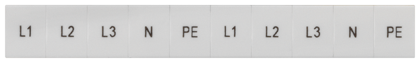 Inscription label, front, with L1, L2, L3, PE, N, vertical, terminal width: ... motor - 8WH8120-4AA15