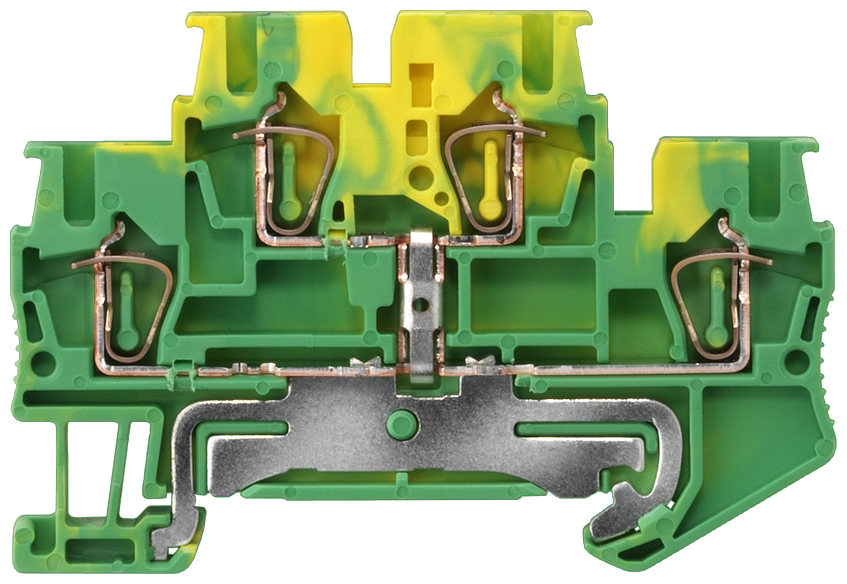 Two-tier PE terminal with spring-loaded connection, Cross section: 0.08-2.5 mm2, Width: 5.2mm, Color: green-yellow motor - 8WH2020-0CF07