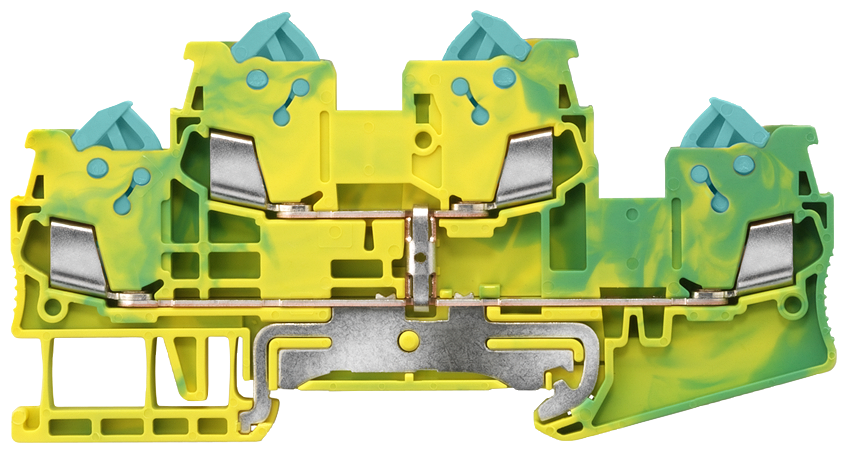 Two-tier PE terminal with quick-connect technology Cross-section: 0.25-1.5 mm2, Width: 5.2mm, Color: green-yellow motor - 8WH3020-0CE07