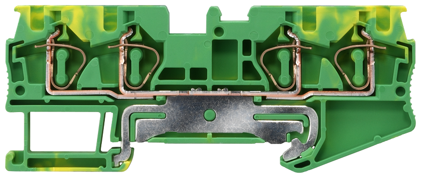 Protective conductor terminal with spring-loaded connection, 4 connection points, Cross-section: 0.5-4 mm2, Width: 6.2mm, Color: green-yellow motor - 8WH2004-0CG07