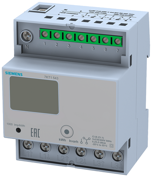 E-meter with LC display, 3-phase, 80 A, 2xS0, 2 tariffs, direct connection with counter setting at back, data transfer function motor - 7KT1543