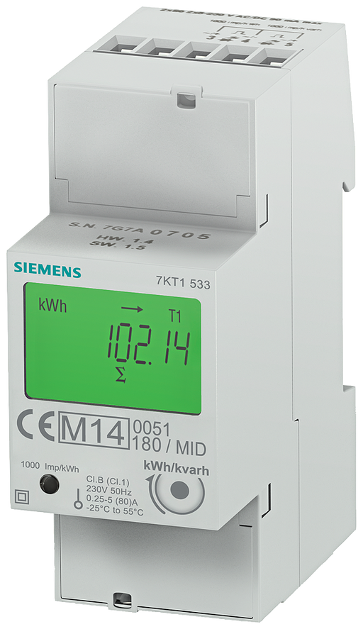E-counter with LC display, 1-phase, 80 A, 2xS0, 2 tariffs, direct connection calibrated in accordance with MID, data transfer function motor - 7KT1533