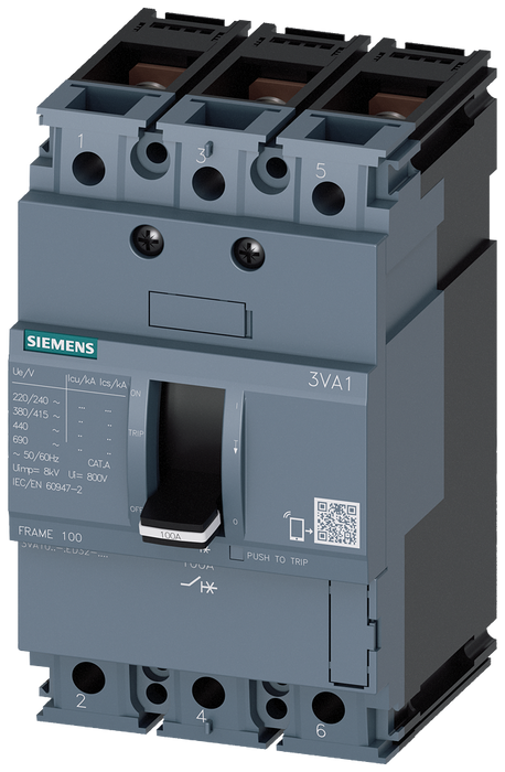 circuit breaker 3VA1 IEC frame 100 breaking capacity class N Icu=25kA @ 415V 3-pole, line protection TM210, FTFM, In=20A overload protection Ir=20A fi motor - 3VA1020-3ED32-0HH0