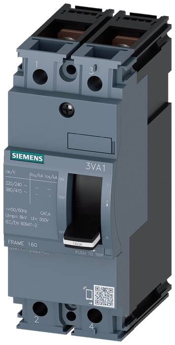 circuit breaker 3VA1 IEC frame 160 breaking capacity class M Icu=55kA @ 415V 2-pole, line protection TM210, FTFM, In=160A overload protection Ir=160A motor - 3VA1116-5ED22-0AA0