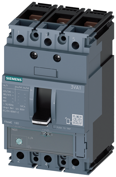 circuit breaker 3VA1 IEC frame 160 breaking capacity class M Icu=55kA @ 415V 3-pole, line protection TM220, ATFM, In=160A overload protection Ir=112A. motor - 3VA1116-5EE32-0AH0