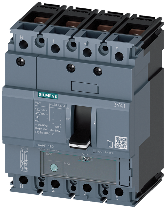 circuit breaker 3VA1 IEC frame 160 breaking capacity class N Icu=25kA @ 415V 4-pole, line protection TM220, ATFM, In=160A overload protection Ir=112A. motor - 3VA1116-3GE42-0AA0