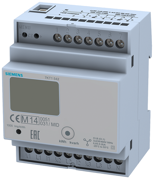 E-counter with LC display, 3-phase, CT/5A, 2xS0, 2 tariffs, transformer connection calibrated in accordance with MID, data transfer function motor - 7KT1542