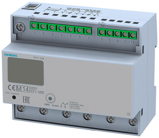 E-counter with LC display, 3-phase, 125 A, 2xS0, 2 tariffs, direct connection calibrated in accordance with MID, data transfer function motor - 7KT1548